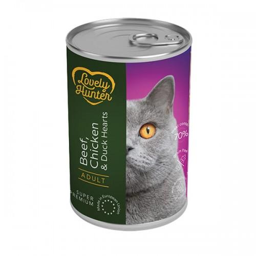 Lovely Hunter Beef, Chicken & Duck Hearts Adult Cats -(wołowina, kurczak, kacze serca - 400g)