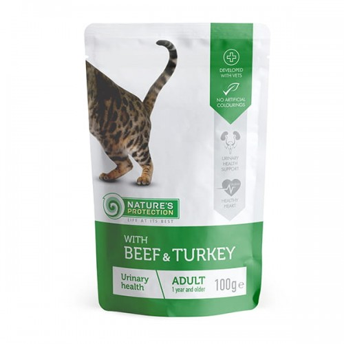"""Nature's Protection Adult Cat """"Urinary health"""" Beef & Turkey 100g"""