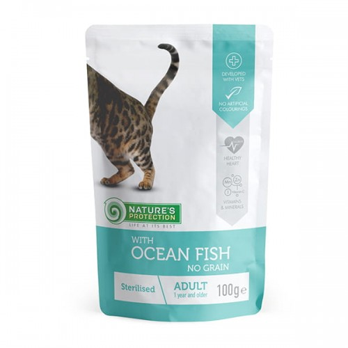 """Nature's Protection Adult Cat """"Sterilised"""" Ocean Fish 100g"""