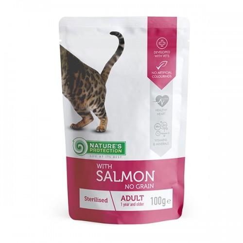 "Nature's Protection Adult Cat ""Sterilised"" Salmon 100g"
