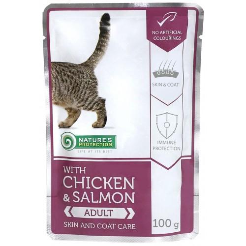 Nature`s Protection Adult Chicken & Salmon ZDROWA SKÓRA I PUSZYSTA SIERŚĆ 100g (kurczak łosoś) )